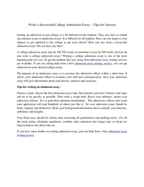 Tips For Writing A College Essay by Write A Successful College Admission Essay Tips For Success