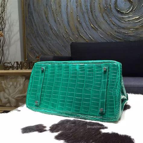 Ready Stock Hermes Birkin Rainbow hermes birkin 35 bag vert emeraude crocodile leather handstitched silver hw