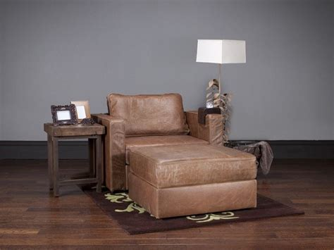 lovesac europe armchair and ottoman with cigar brown top grain leather