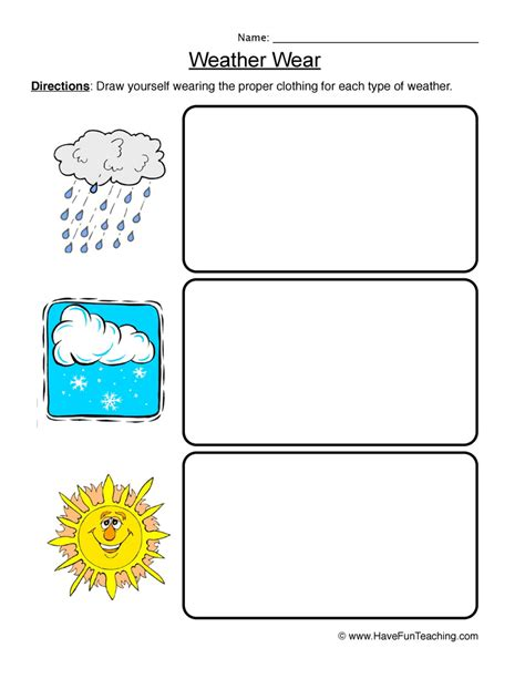 Weather Worksheets by Weather Worksheet 3 Weather Wear