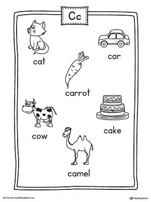 color starting with c letter c beginning sound color pictures worksheet