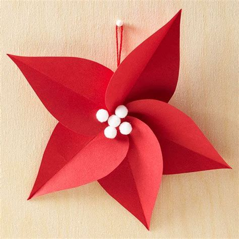 Paper Poinsettia Craft - poinsettia ornaments and ornaments on