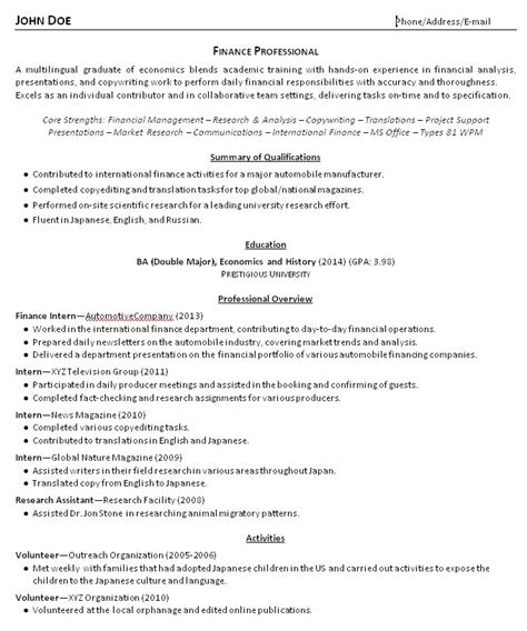 student resume summary student resume summary exles exles of resumes