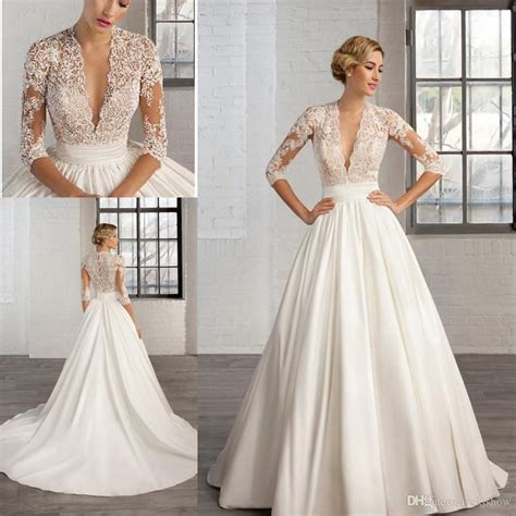 discount  sexy deep  neck lace appliques   wedding dresses  long sleeve sheer