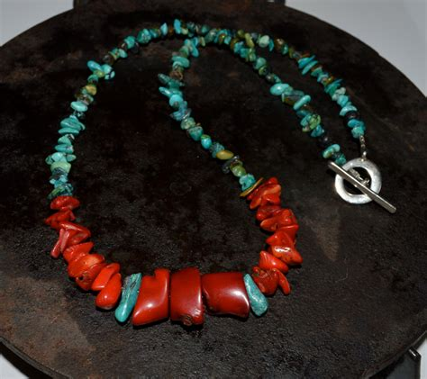 coral necklace coral and turquoise necklace mens coral