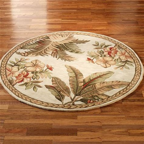 palm trees round rugs tropical retreat area rugs