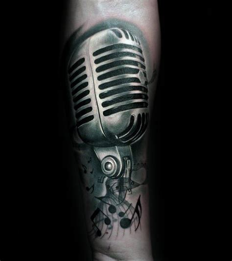microphone tattoo with music notes 75 music note tattoos for men auditory ink design ideas