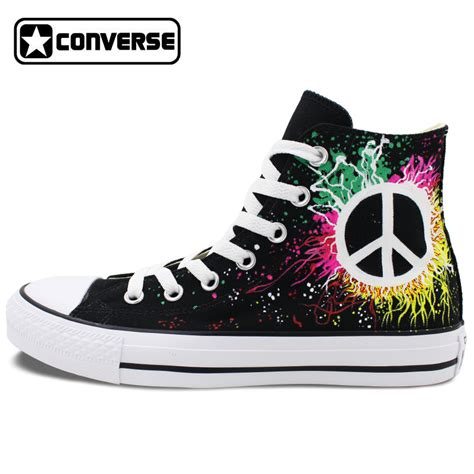 Best Seller Sepatu Pria Sneakers Casual Skateboard Converse Pro peace sign converse all design painted shoes high top canvas sneakers