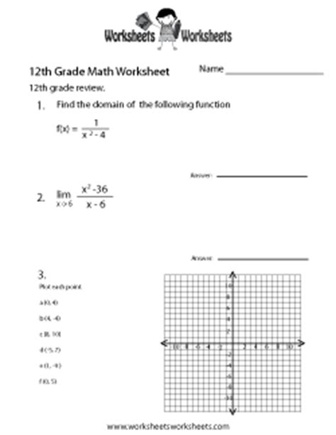 12th Grade Math Worksheets by Image Gallery Twelfth Graders