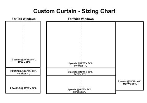 curtain sizes standard curtain rod sizes stack back chart with rod