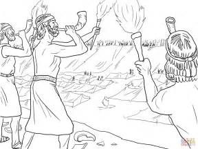 Gideon Coloring Pages gideon soldiers with trumpets and torches coloring page free printable coloring pages