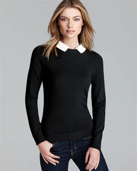 And Black Sweater lyst milly sweater leather collar in gray