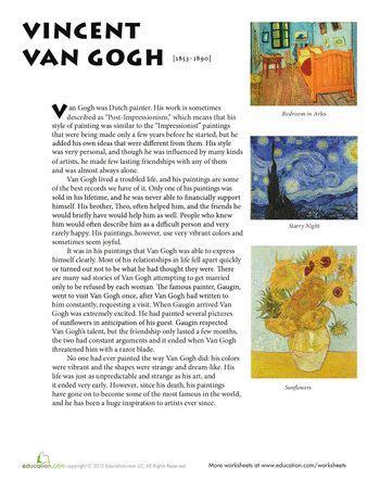 famous artist biography worksheet pinterest the world s catalog of ideas