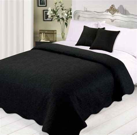 black bed spread 3pc luxurious quilted bedspread comforter cushions set black white silver teal ebay