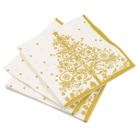 pack of 20 christmas paper napkins gold xmas tree