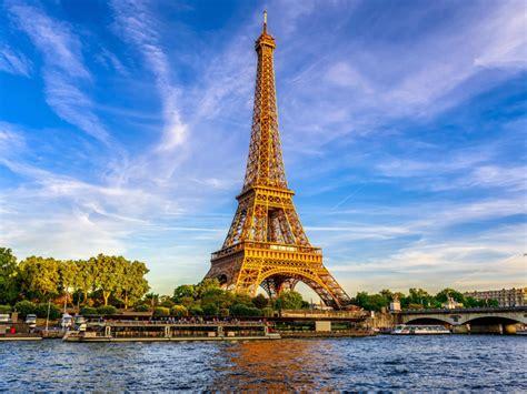 european cities eiffel tower  river seine paris france