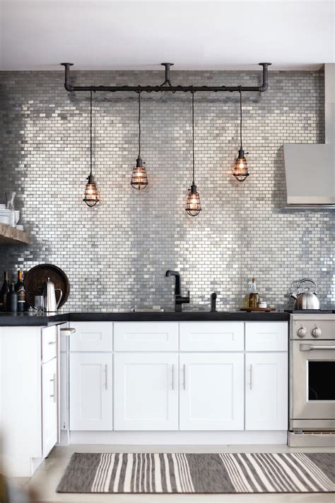 Metallic Kitchen Backsplash Tile Kitchen Backsplash Ideas With White Cabinets Home