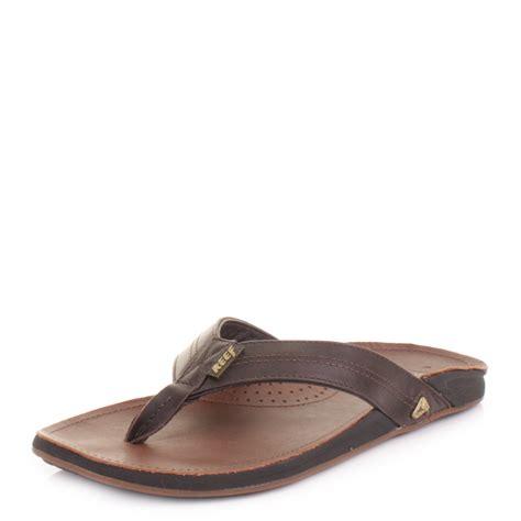 12 Flip Flops by Mens Reef J Bay Brown Premium Leather Flip Flops