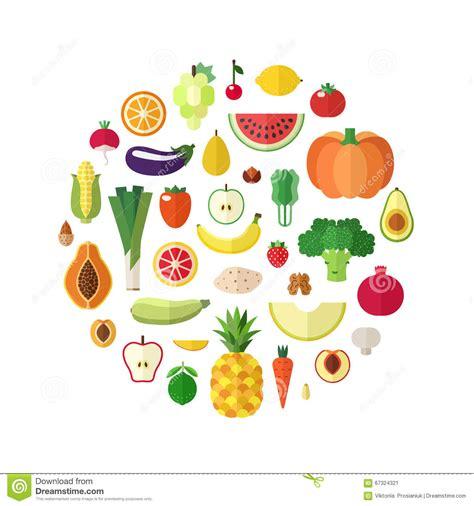 c fruit plano las verduras las frutas y la comida nuts vector el fondo