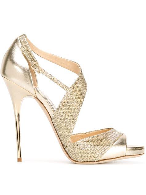 jimmy choo sandals lyst jimmy choo tyne sandals in metallic