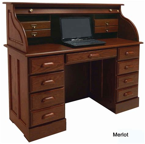 Best Desk by Solid Oak Roll Top Laptop Notebook Tablet Desk