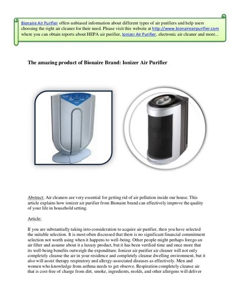 the amazing product of bionaire brand ionizer air purifier