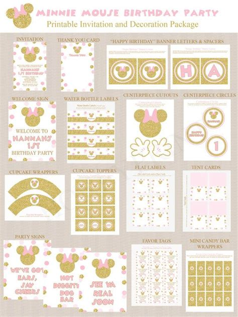 printable pink birthday party decorations gold glitter and pink minnie mouse birthday party