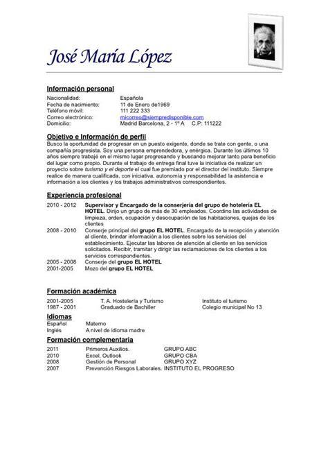 Modelo Curriculum Vitae Experiencia Argentina modelo de curriculum vitae simple ejemplos de
