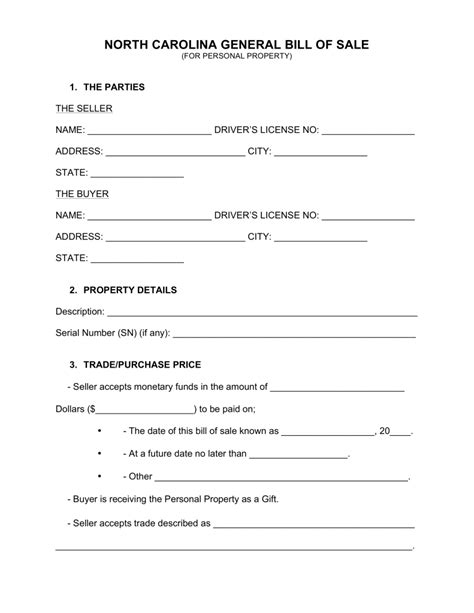 Carolina Property Records Free Free Carolina General Bill Of Sale Form Word Pdf Eforms Free Fillable