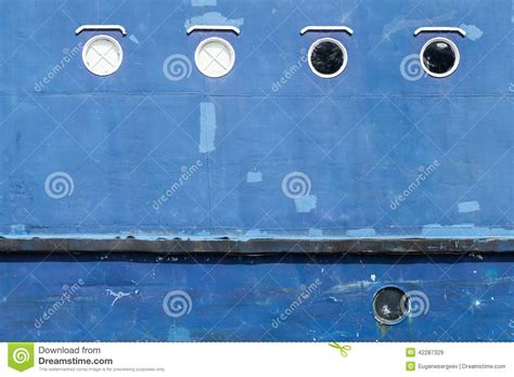 blue hull of ship texture with portholes stock