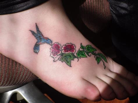 small bird foot tattoos small bird and flower on foot creativefan