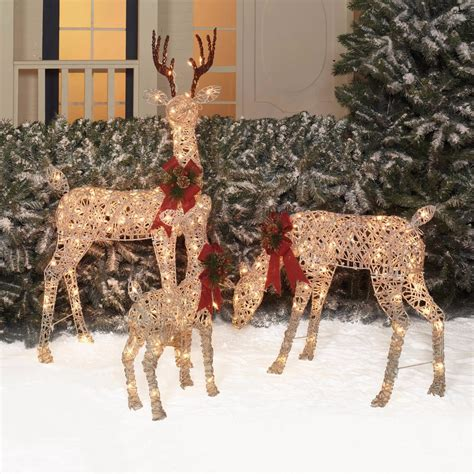 outdoor decoration christmas set 3 woodland vine deer