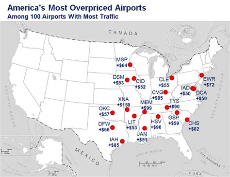united states map with cities and airports which airports the most unfair fares the new york