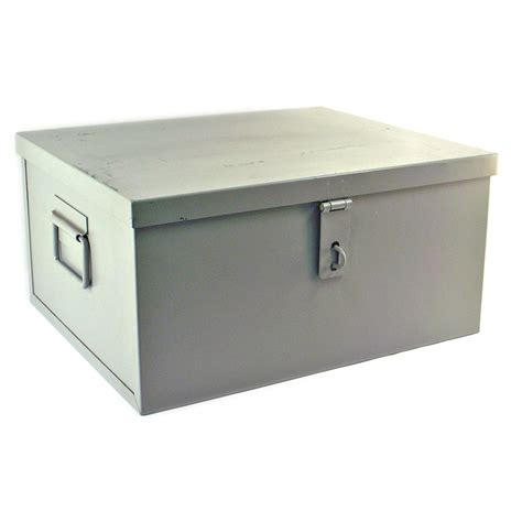 Metal Document Storage Boxes Metal Storage Container Hinged Lid Utility Tool Bin Latch