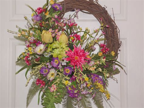 spring door wreath spring summer door or wall wreath with flowers of purple