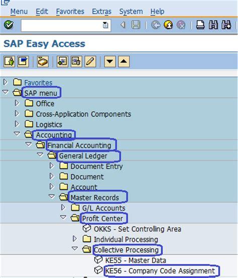 Home Planning Software profit center company code assignment sap menu path