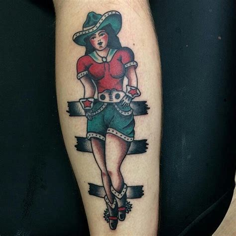 cowgirl pinup tattoo design 145 traditional school designs april 2018