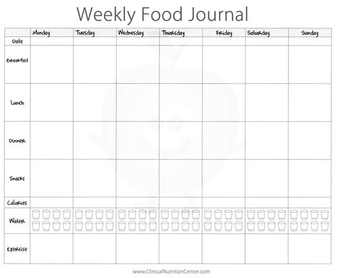 food logs templates 7 best images of printable 7 day food log 5 meals a day