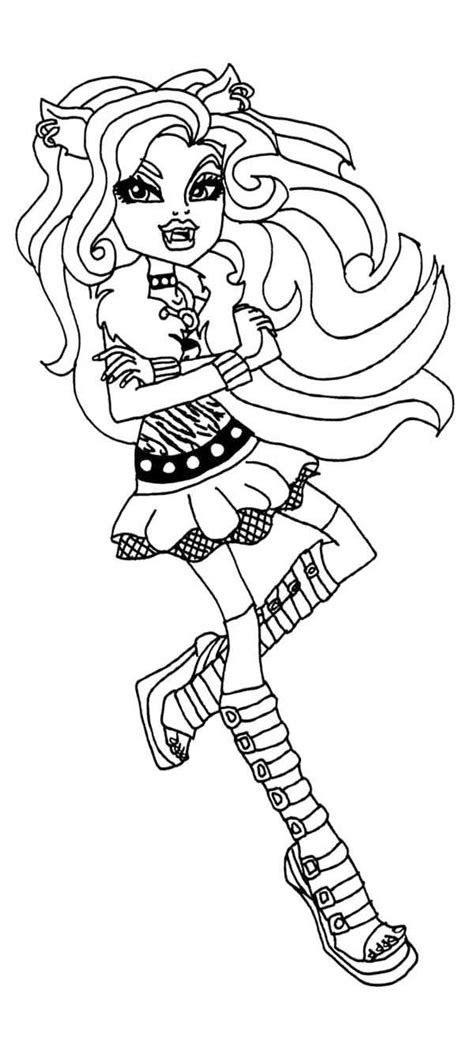 clawdeen wolf seated on a bench coloring pages hellokids com monster high clawdeen wolf coloring pages sitting monster