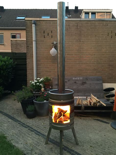 keg chiminea keg outside fireplace pinteres