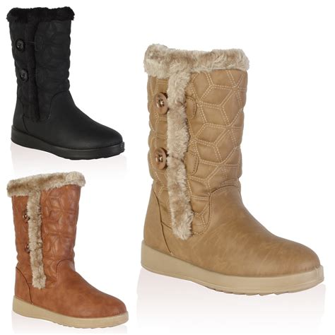 womens fur lined boots new quilted faux fur lined womens winter grip snow