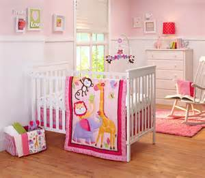 Nojo infant girl s 4 piece crib bedding set pink jungle baby