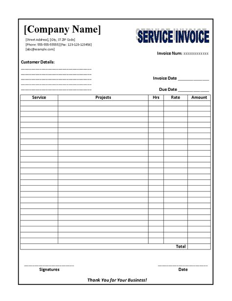 printable invoice for services free printable service invoice template car interior design