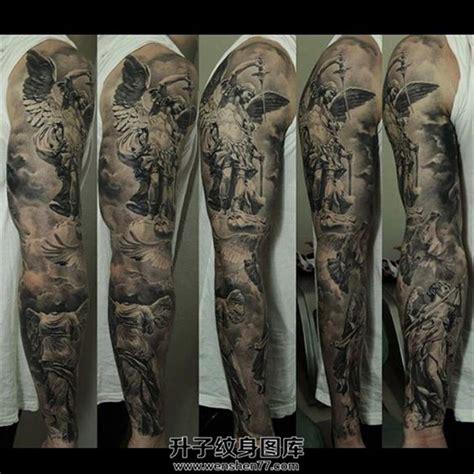 男性欧美黑灰花臂纹身 升子纹身520