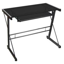 Small Black Glass Computer Desk Walker Edison Small Glass Top Computer Desk In Black D31s29b
