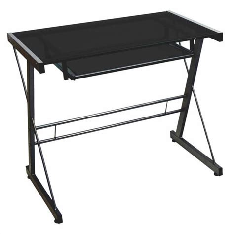 walker edison small glass top computer desk in black