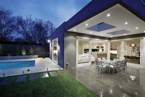 exterior modern look of entertaining area with pool and