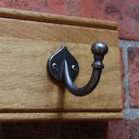 rustic oak metal coat hooks waxed oak wood wall hooks
