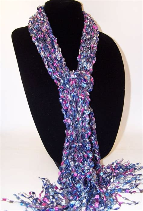 knit scarf pattern ladder yarn knit scarf ladder yarn scarf blue gray pink knit scarf