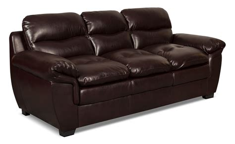 Leather Look Sofas Bryon Leather Look Fabric Sofa Brown United Furniture Warehouse